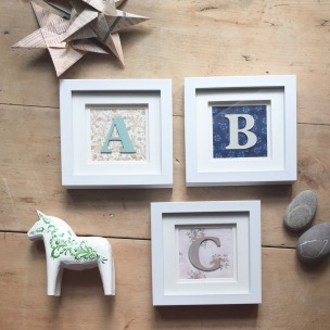 Wooden Painted Letters on Vintage Fabric